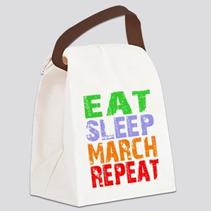 Eat Sleep March Repeat Dark Canvas Lunch Bag