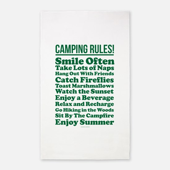 Camping Rules Area Rug