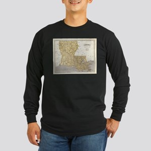Vintage Map of Louisiana (1845 Long Sleeve T-Shirt