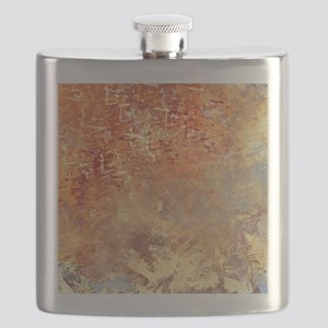 Abstract in Red, Yellow, and Smoke Flask