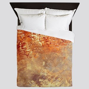Abstract in Red, Yellow, and Smoke Queen Duvet