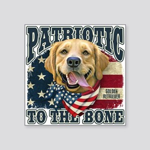 "Patriotic Golden Square Sticker 3"" x 3"""