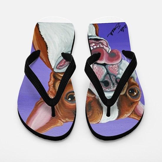 Red Boston Terrier Flip Flops