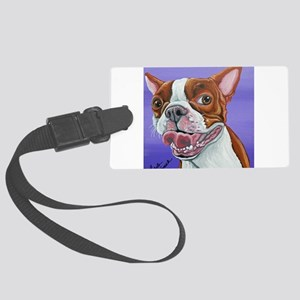 Red Boston Terrier Large Luggage Tag