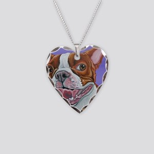 Red Boston Terrier Necklace Heart Charm