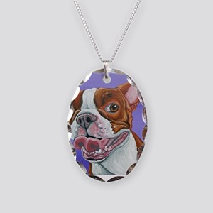 Red Boston Terrier Necklace Oval Charm