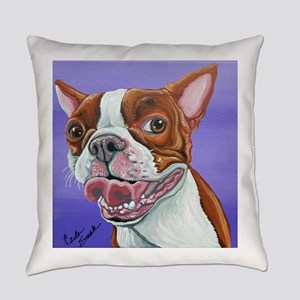 Red Boston Terrier Everyday Pillow