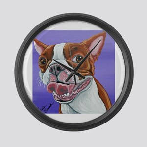 Red Boston Terrier Large Wall Clock