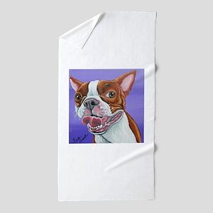 Red Boston Terrier Beach Towel