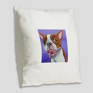 Red Boston Terrier Burlap Throw Pillow