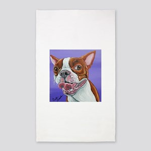 Red Boston Terrier Area Rug