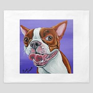Red Boston Terrier King Duvet
