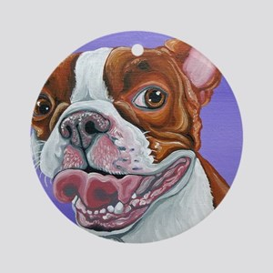 Red Boston Terrier Ornament (Round)