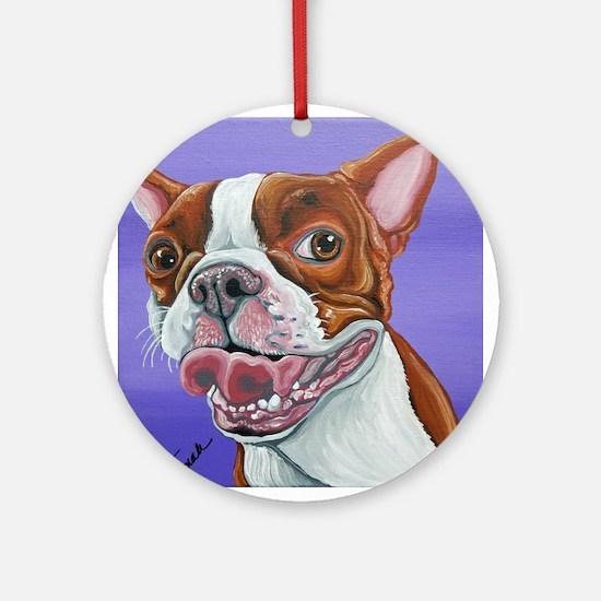 Red Boston Terrier Ornament (Round)