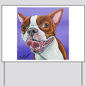 Red Boston Terrier Yard Sign