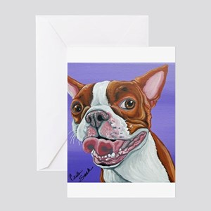 Red Boston Terrier Greeting Cards