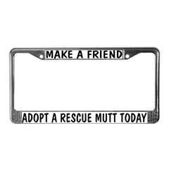 Adopt A Mutt License Plate Frame