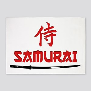 Samurai Kanji and text 5'x7'Area Rug