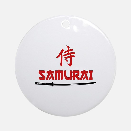 Samurai Kanji and text Ornament (Round)