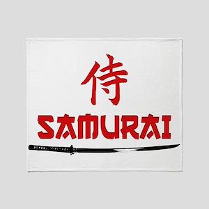 Samurai Kanji and text Throw Blanket