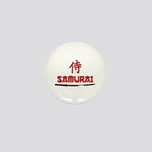 Samurai Kanji and text Mini Button