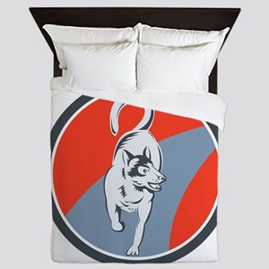 Huskie Sled Dog Circle Retro Queen Duvet