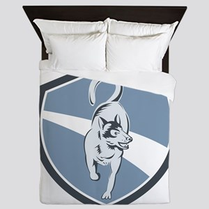 Husky Dog Crest Retro Queen Duvet