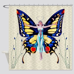 Art Deco Sensual B'fly Flapper Shower Curtain