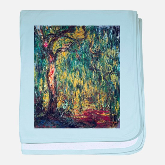 Weeping Willow by Claude Monet baby blanket