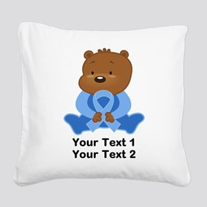 Light Blue Awareness Bear Square Canvas Pillow