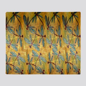Dragonfly Golden Haze Throw Blanket
