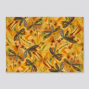 Dragonfly Flit Warm Breeze 5'x7'Area Rug