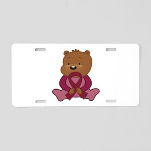 Burgundy Awareness Bear Aluminum License Plate