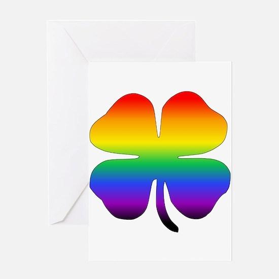 Rainbow Four Leaf Clover Greeting Cards