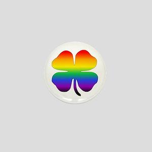 Rainbow Four Leaf Clover Mini Button