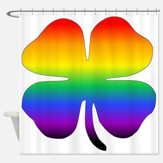 Rainbow Four Leaf Clover Shower Curtain