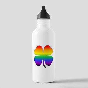 Rainbow Four Leaf Clover Water Bottle