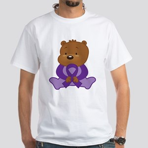Purple Awareness Bear White T-Shirt