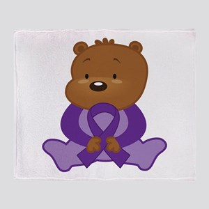 Purple Awareness Bear Throw Blanket