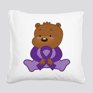 Purple Awareness Bear Square Canvas Pillow