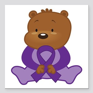 "Purple Awareness Bear Square Car Magnet 3"" x 3"""