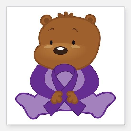 "Purple Awareness Bear Square Car Magnet 3"" x 3"""
