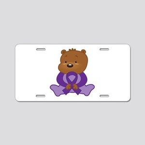 Purple Awareness Bear Aluminum License Plate