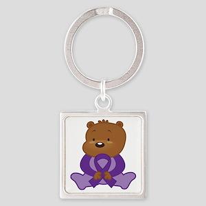 Purple Awareness Bear Square Keychain