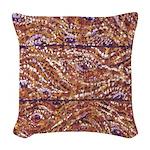 Pointillism Wood Picnic King Woven Throw Pillow