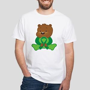 Green Awareness Bear White T-Shirt