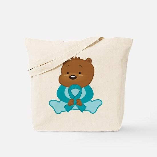 Teal Awareness Bear Tote Bag