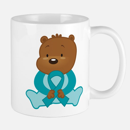 Teal Awareness Bear Mug