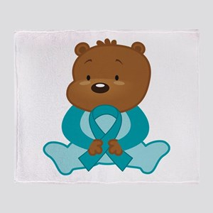 Teal Awareness Bear Throw Blanket