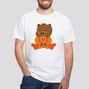Orange Awareness Bear White T-Shirt